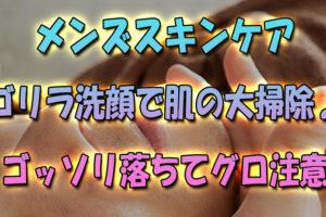 【メンズスキンケア】ゴリラ洗顔で肌の大掃除♪-皮脂角質がゴッソリ落ちてグロ注意