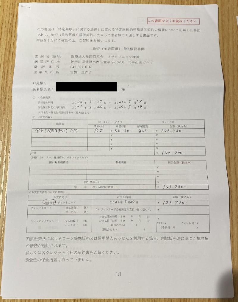 メンズリゼ3回コースの契約書