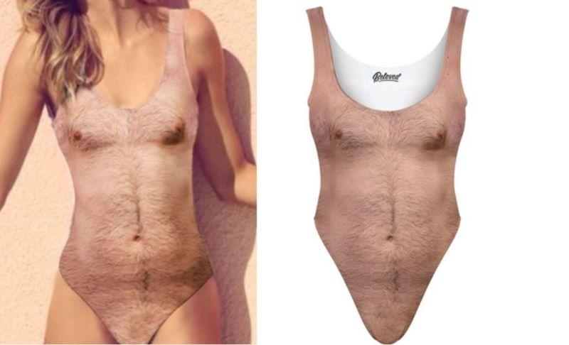 斬新すぎる女性用水着が登場!ギャランドゥ、胸毛もモジャモジャ